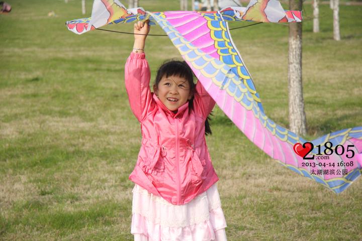 到太湖边去放风筝